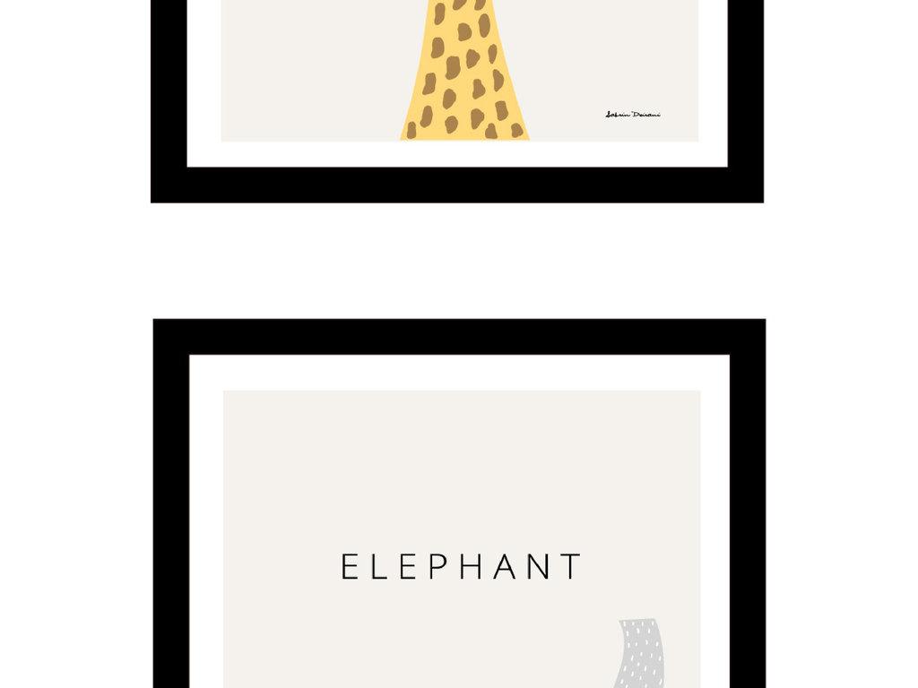 小鹿大象手绘卡通北欧简约装饰画无框画