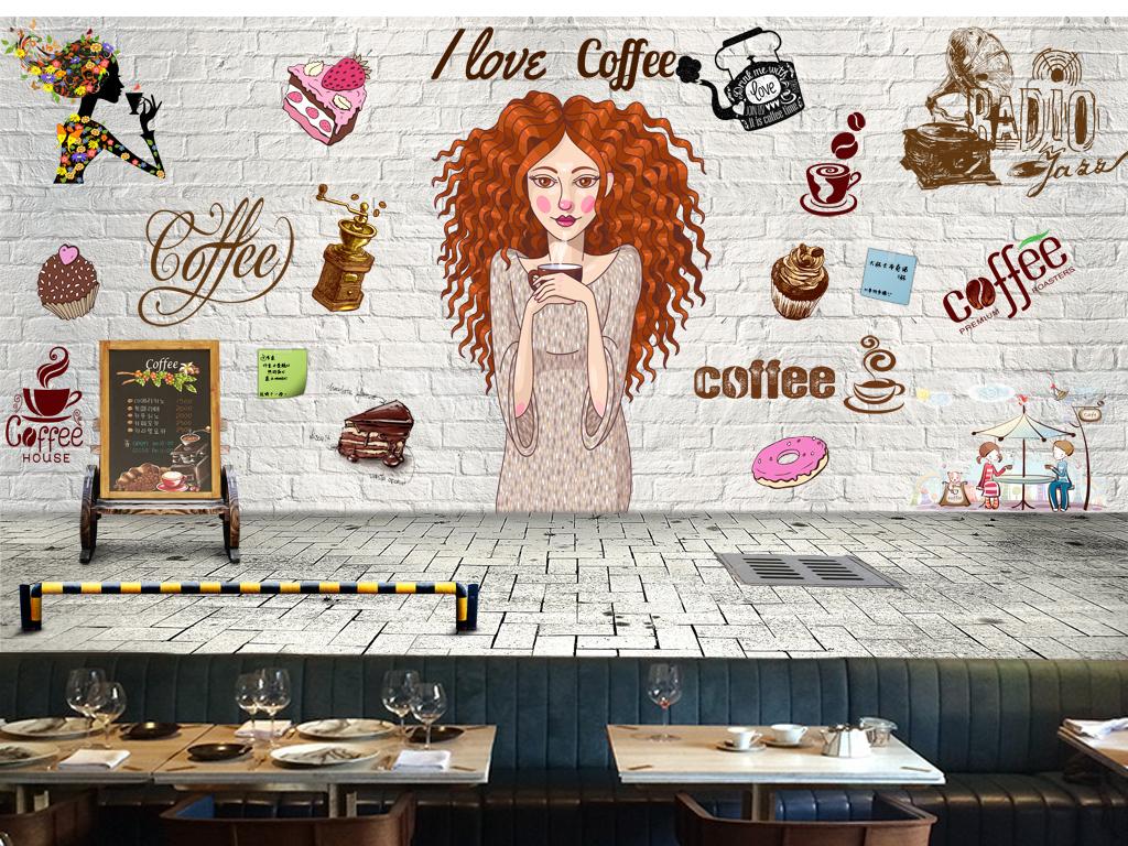 手绘甜品餐厅背景墙素材下载