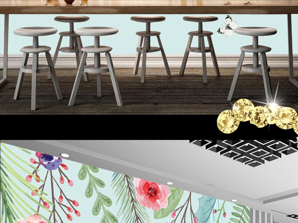 欧式手绘水彩花卉时尚电视背景墙