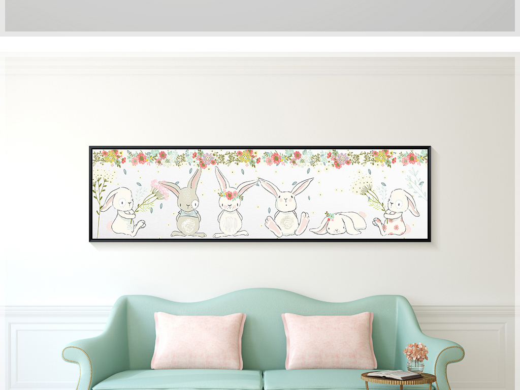 北欧简约小碎花卡通手绘小白兔装饰画