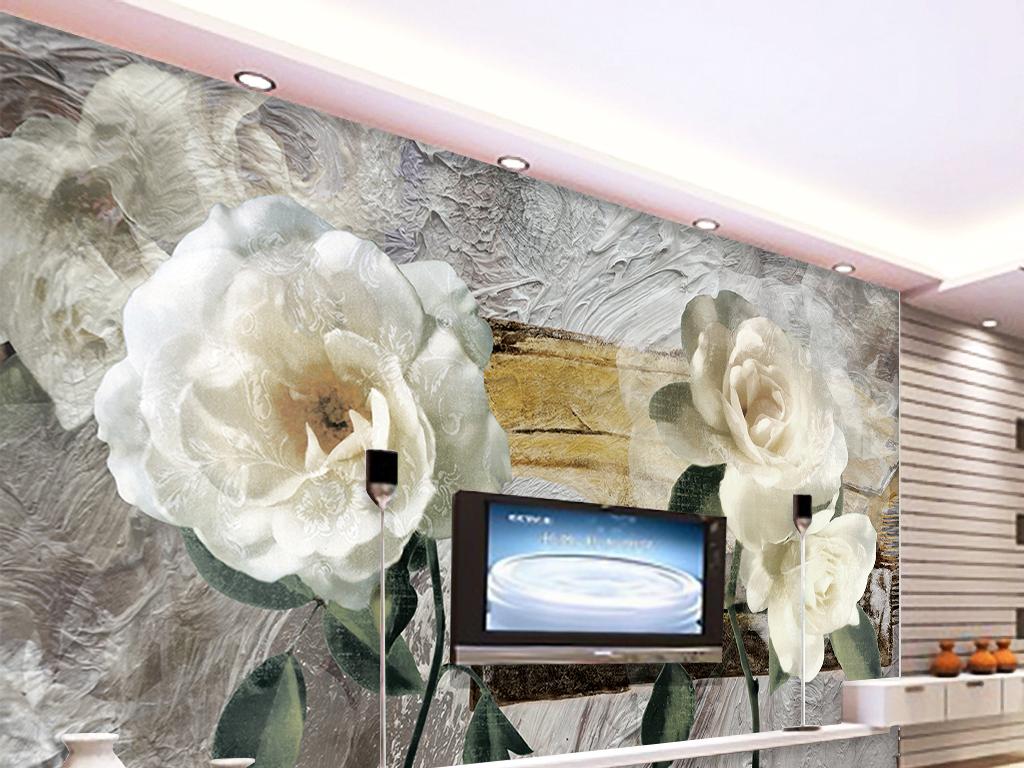 白花抽象油画复古背景栀子花背景欧式复古背景墙复古
