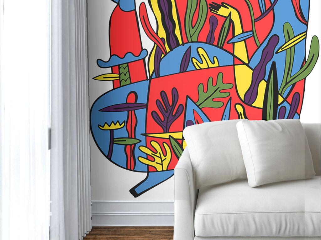 现代简约手绘个性抽象墙纸