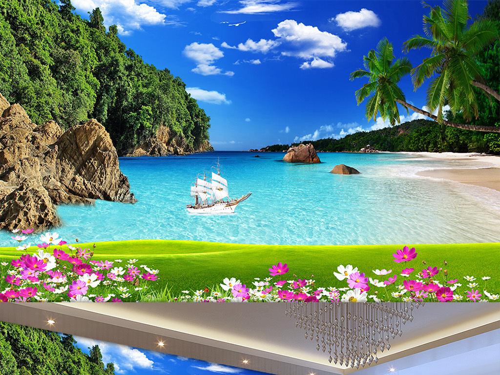 花草蓝天白云风景壁画海边椰树油轮沙滩