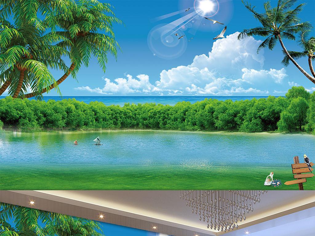 海边椰树蓝天白云风景壁画