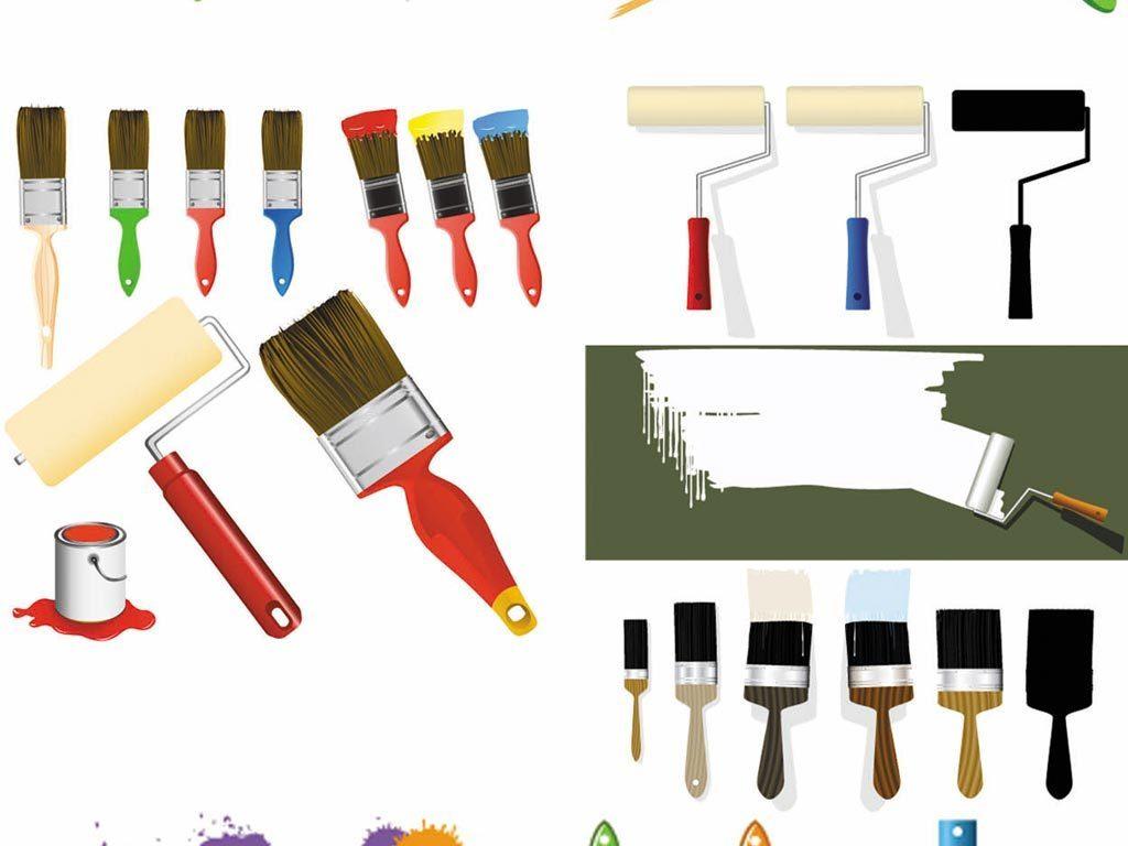油漆桶油漆刷泼墨喷绘涂鸦滚筒矢量图