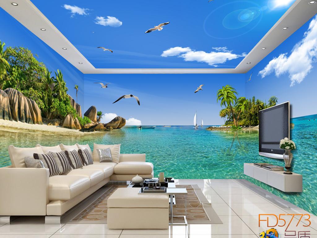 海滩礁石海岛椰树主题空间全屋背景墙