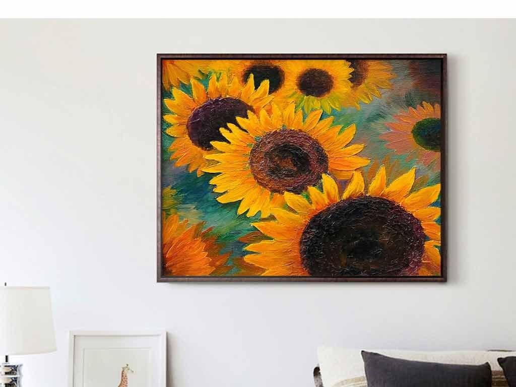 油画太阳花向日葵花籽花卉手绘
