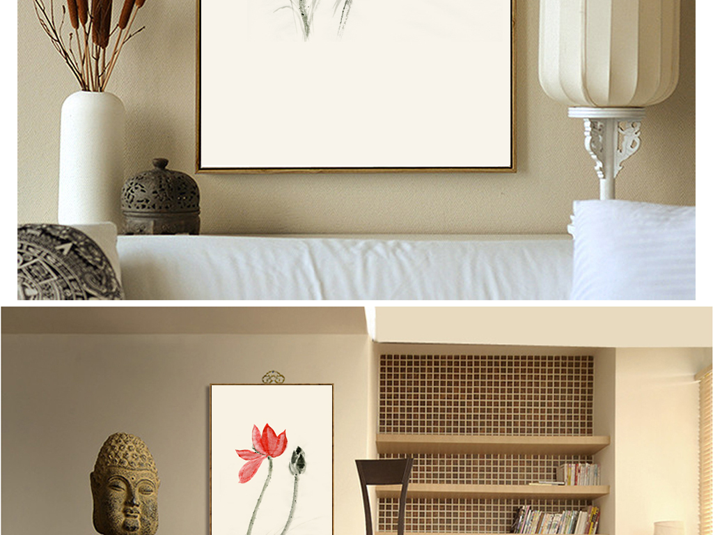 工笔荷花系列无框画禅意写意荷花原创手绘