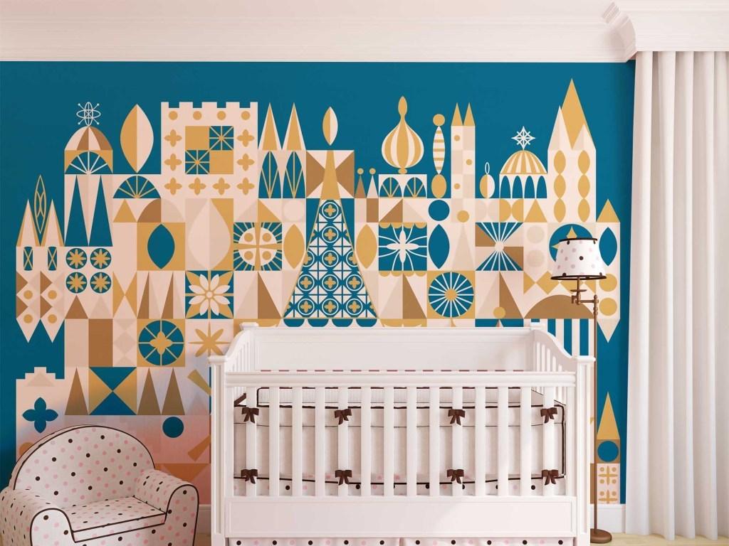 手绘彩色民族城堡儿童卡通墙纸壁