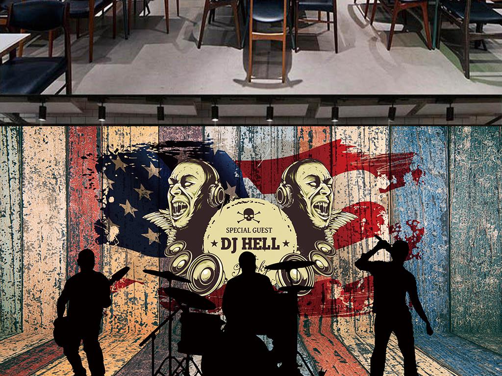 酒吧ktv餐厅咖啡厅手绘欧美木板音乐主题立体餐饮摇滚嘻哈酒店复古