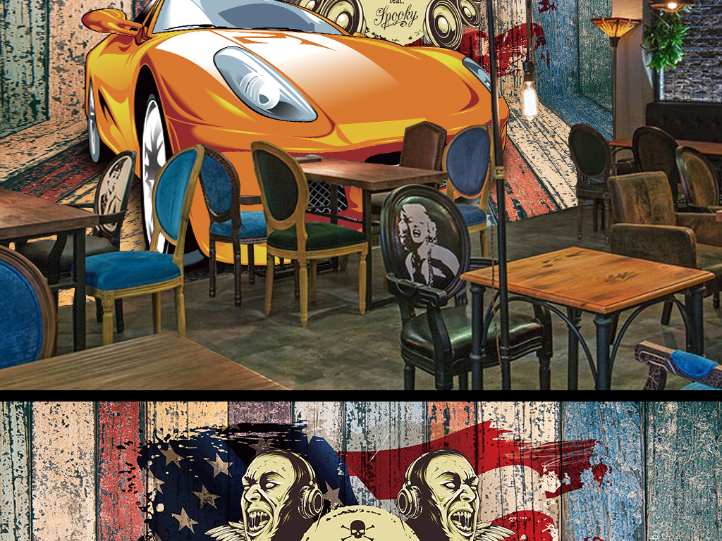 复古怀旧汽车音乐主题背景墙