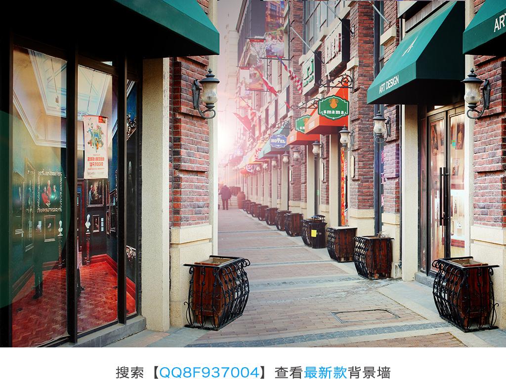设计作品简介: 欧式l浪漫乡村复古小巷街道街区背景