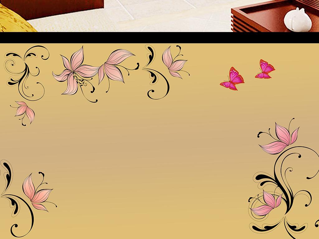 蝴蝶背景手绘花纹蝴蝶电视背景墙唯美中国风唯美意境唯美星空唯美古风
