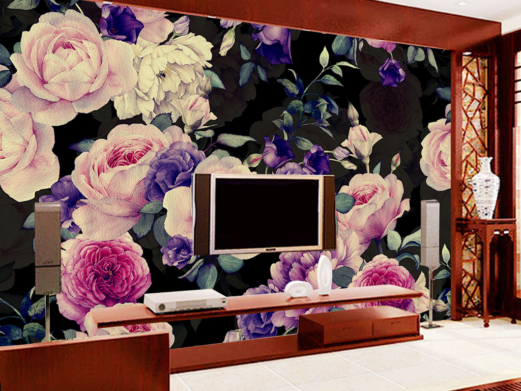 花田园手绘墙纸电视背景蔷薇电视田园风墙纸背景田园背景蔷薇背景田园