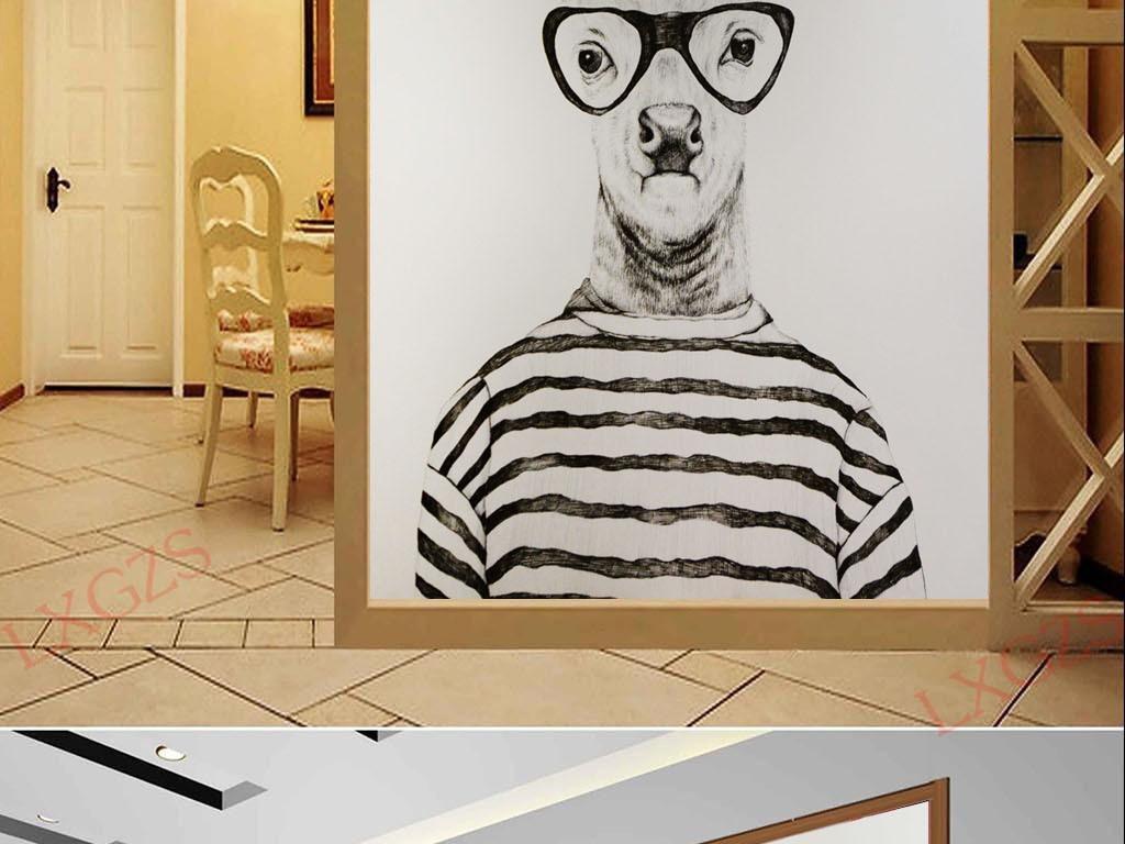 画风景装饰画客厅装饰画黑白装饰画餐厅装饰画水粉装饰画线描装饰画