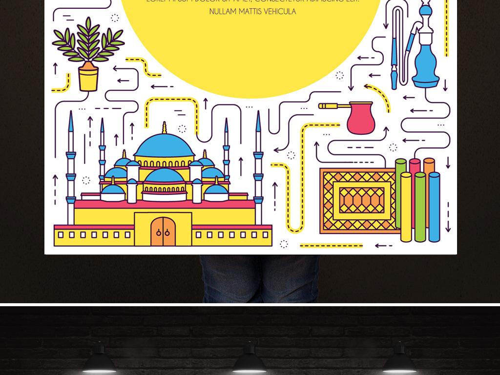 国外旅游pop海报旅游宣传骆驼海边手绘