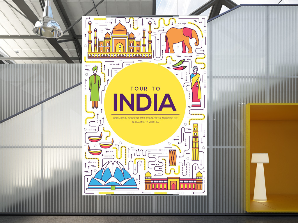 手绘卡通印度建筑旅游海报