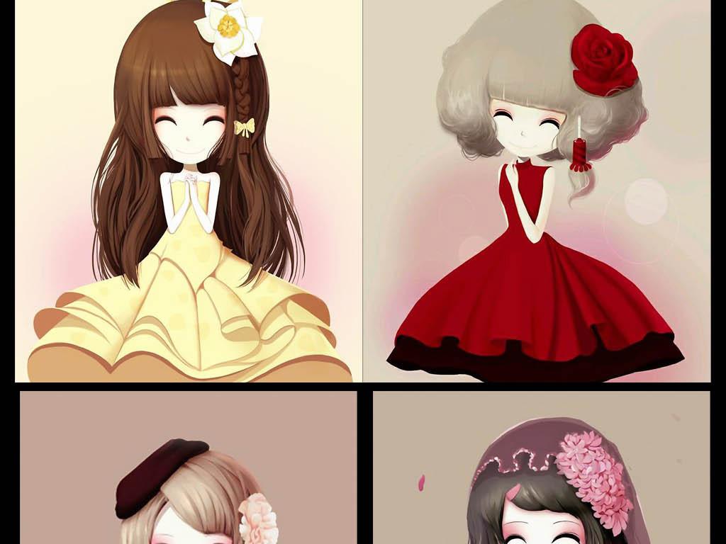 动漫风格无框画可爱女孩可爱女孩可爱女生花花公主卡