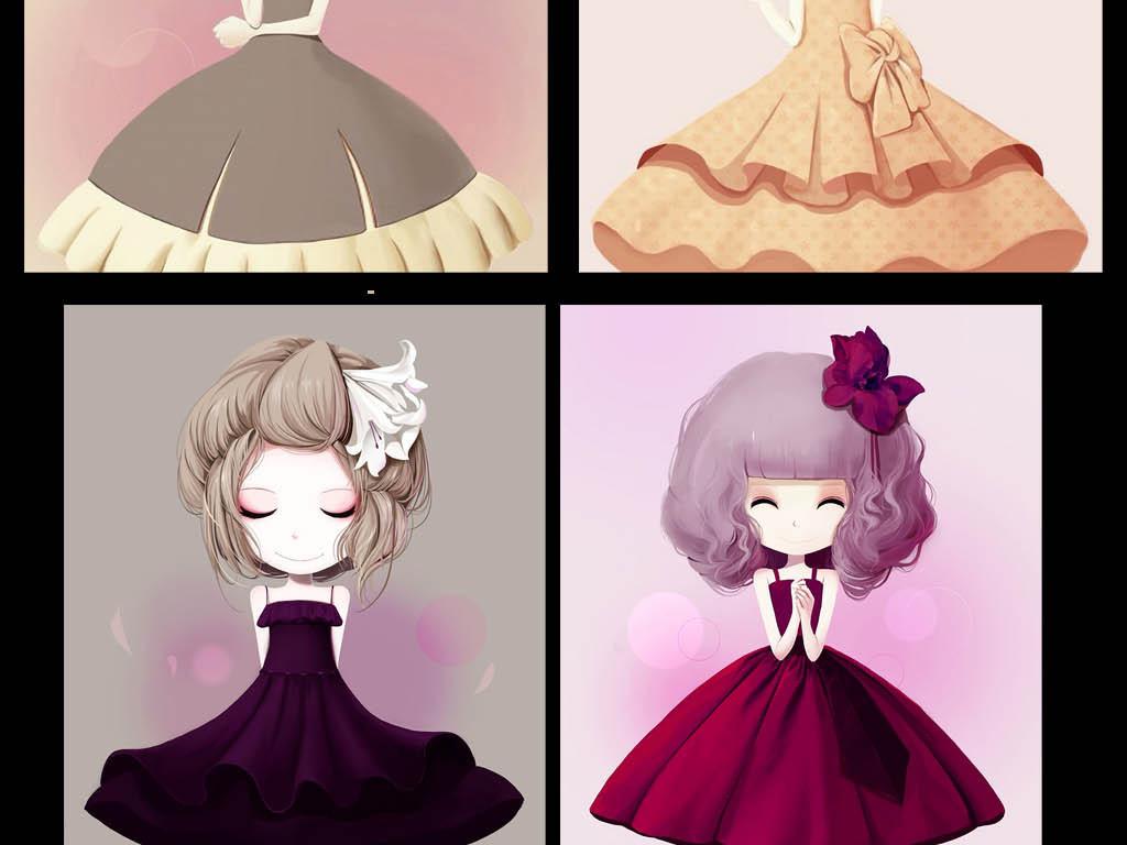 画小公主插画动漫风格无框画可爱女孩可爱女生花花公