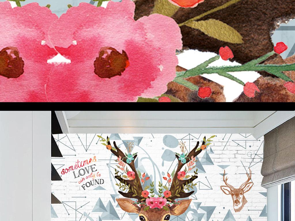北欧手绘麋鹿艺术背景墙装饰画