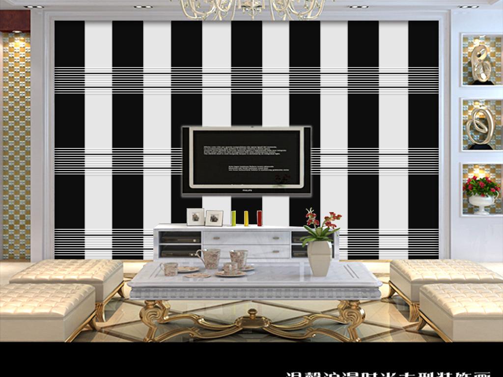 现代简约手绘黑白线面背景墙装饰画