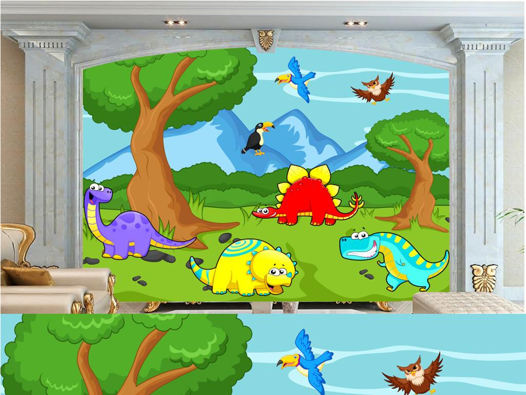 手绘恐龙电视背景墙