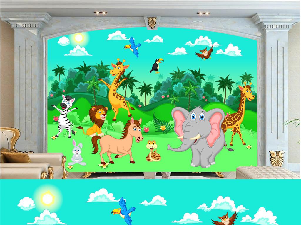 手绘动物森林背景(图片编号:15881788)