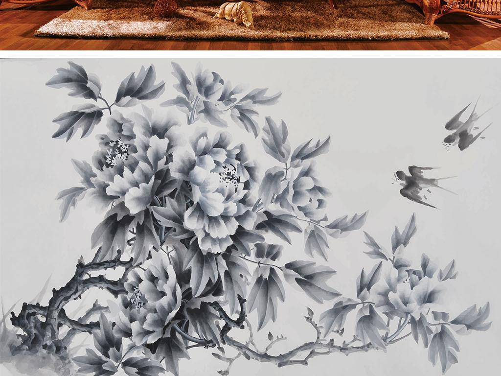 牡丹花铅笔画简单-铅笔牡丹燕子简约背景