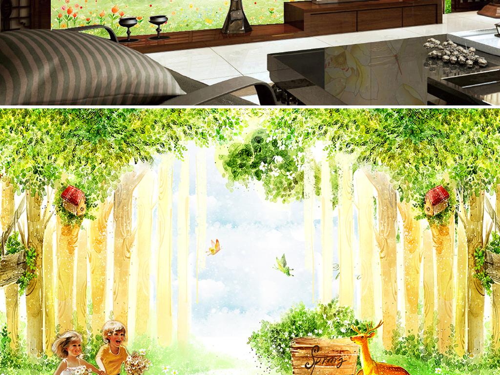 森林背景梦幻卡通手绘人物手绘背景手绘墙手绘背景墙