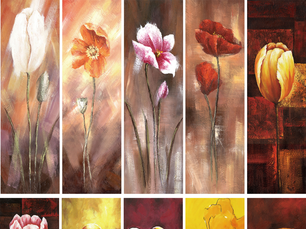 欧式简约油画鲜艳花朵雏菊菊花时尚花3d电视背景墙