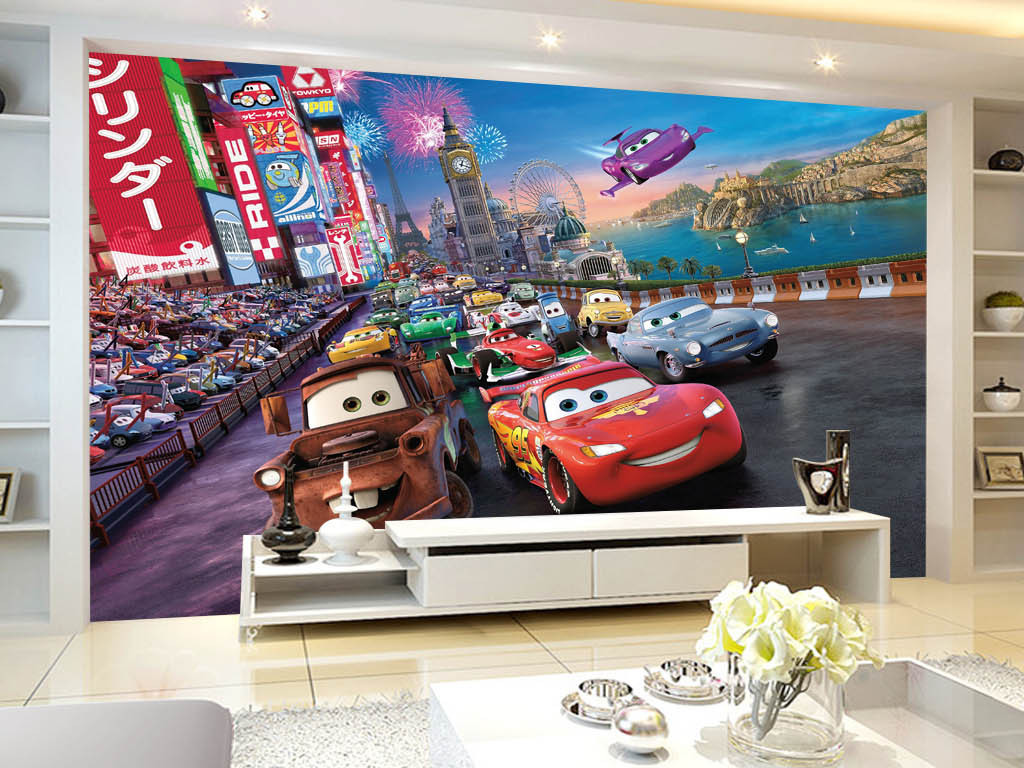 壁纸墙贴墙画工装公装家庭可爱卡通卡通背景汽车背景