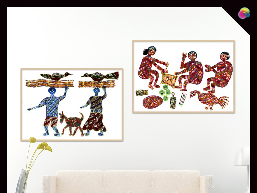 无框画 人物无框画 > 北欧宜家现代简约手绘非洲野性原始图腾花纹