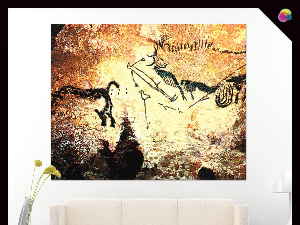 原始动物壁画立体电视墙装饰画
