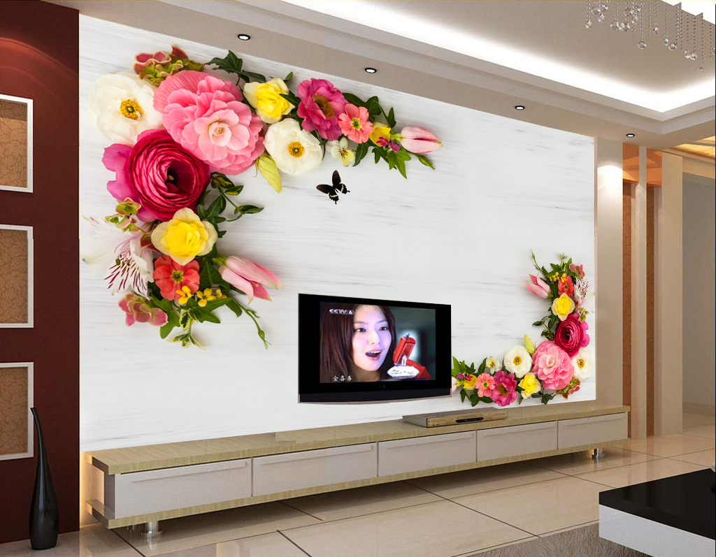 我图网提供精品流行复古艺术花卉电视背景墙
