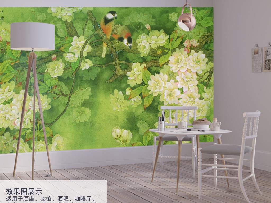 新中式花鸟手绘背景墙装饰画