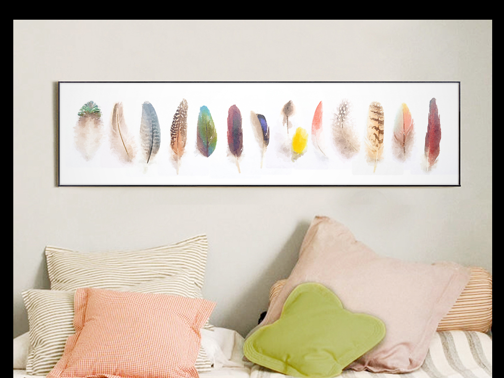高清原创手绘水彩小清新风格简约装饰画