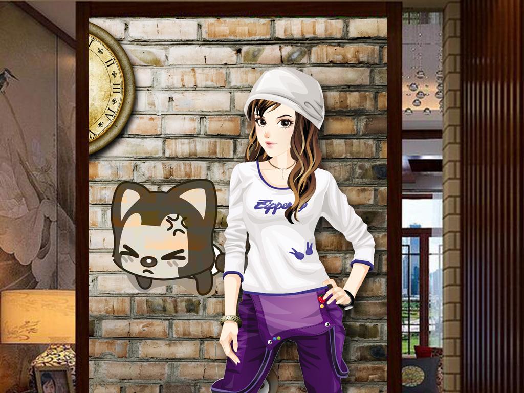 3d砖墙背景qq网吧卡通手绘美女工装玄关