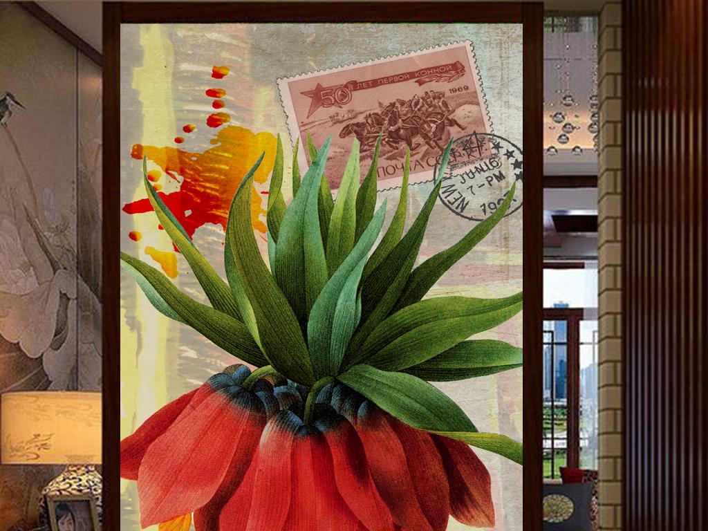 油画花卉欧式花卉工装复古风格复古底纹复古背景复古