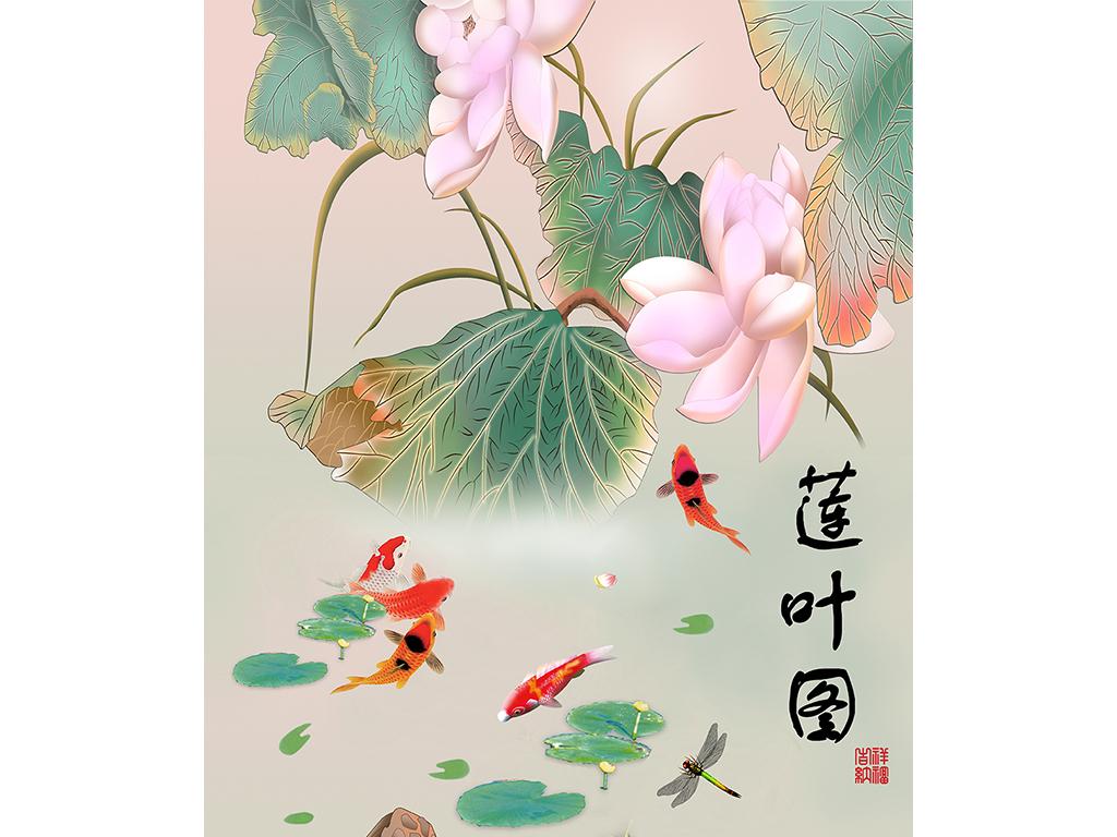 手绘荷花莲花图玄关背景