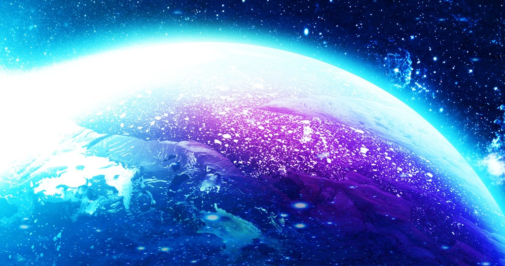 3d梦幻蓝色宇宙星球太空主题空间背景图片
