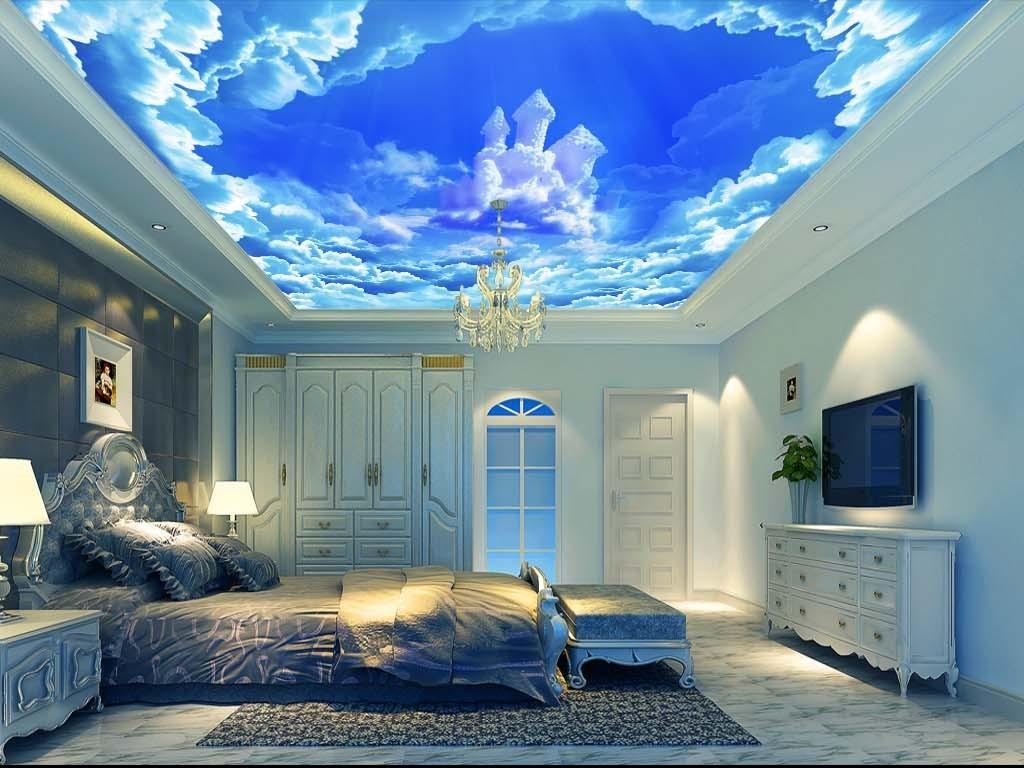 梦幻城堡蓝天白云吊顶背景墙