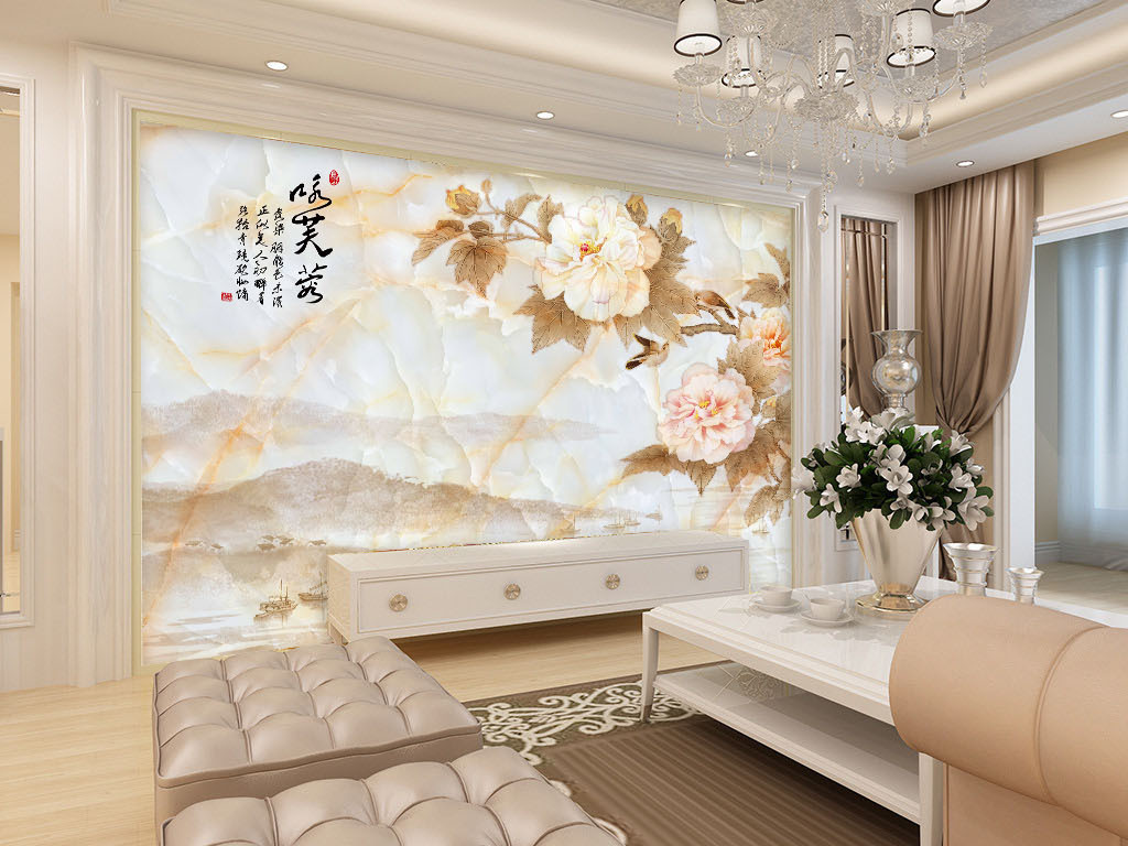 咏芙蓉中式大理石纹电视背景墙