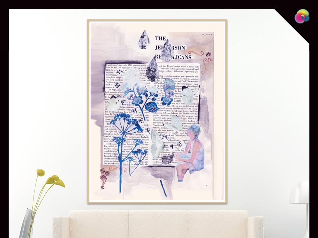 拼贴画旧报纸美女贴图现代简约现代装饰画复古背景报纸现代简约装饰画