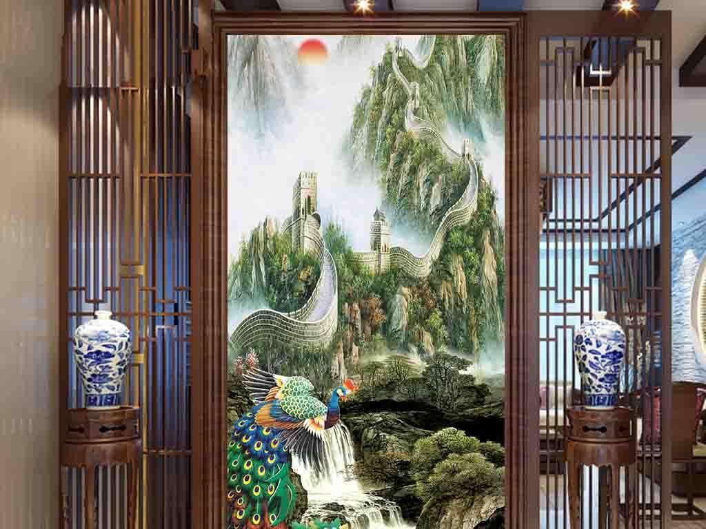 中式3d玄关背景墙富贵吉祥图片