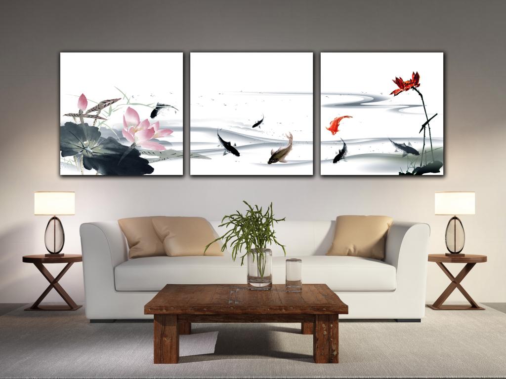 新中式水墨鱼装饰画图片