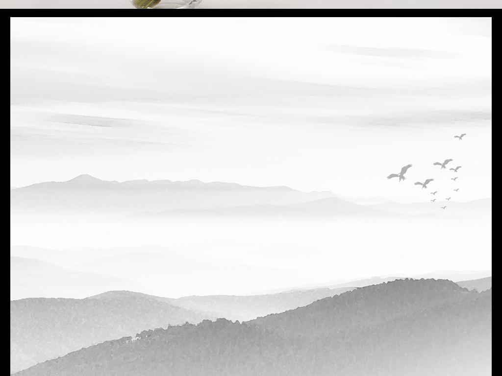 新中式黑白画山水画山风景画黑白装饰画电视背景沙发沙发背景唯美意境图片