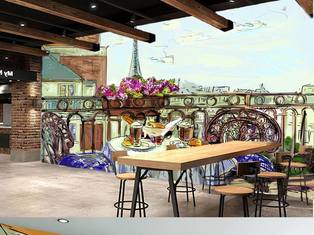 客厅背景手绘街道手绘铁塔欧洲油画风景油画人物油画