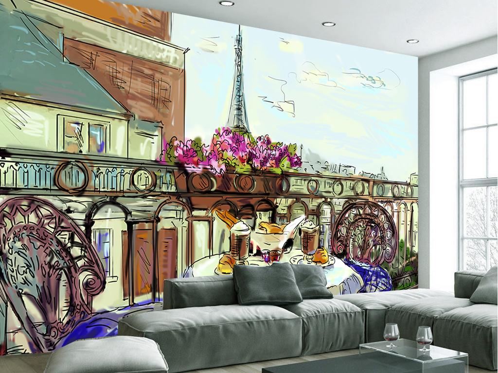 手绘巴黎城市铁塔街道客厅工装背景墙