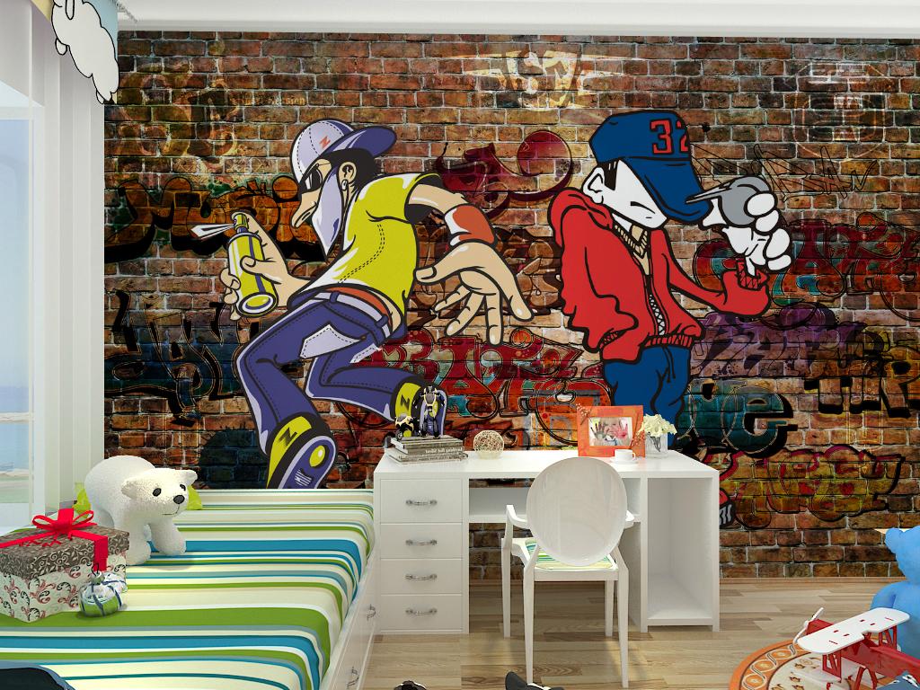 欧式个性涂鸦复古砖墙儿童房背景