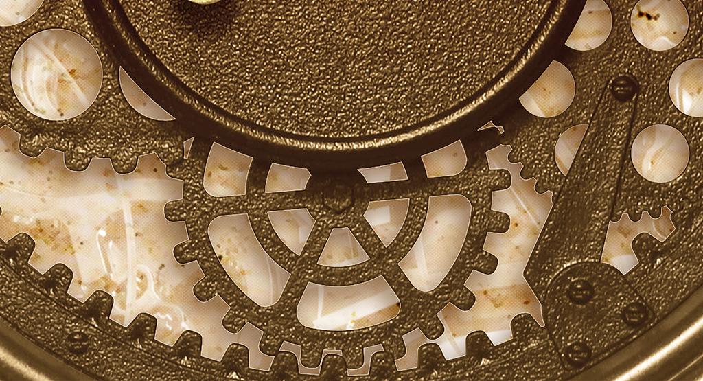 复古齿轮时钟背景墙